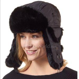 Black -S/M Winter White Rabbit Fur Hat